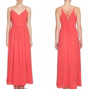 1.STATE Lace Up Back Maxi Dress